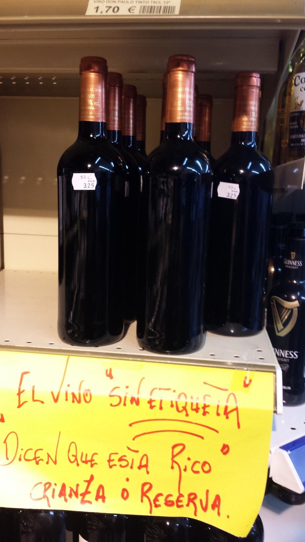 vino sin etiqueta